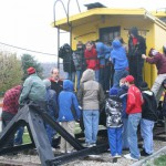 Scouts from troops 575 & 389 visit the caboose, Nov. 2008